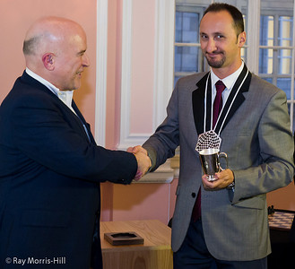 Andrew Paulson congratulates Veselin Topalov on winning the FIDE London Grand Prix on tie-break