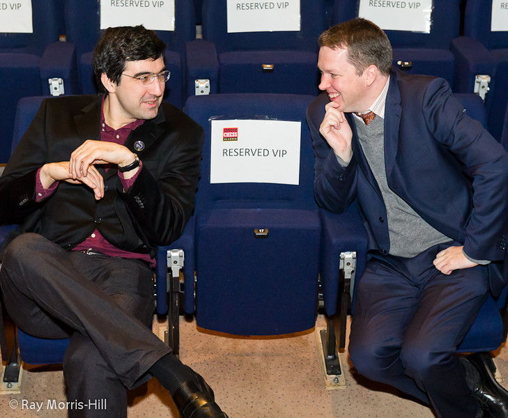 Vladimir Kramnik and Nigel Short at the start of their game in Round 2