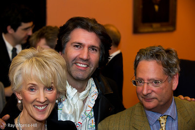 Joanna Trollope, Jason Kouchak and Dominic Lawson at the evening reception