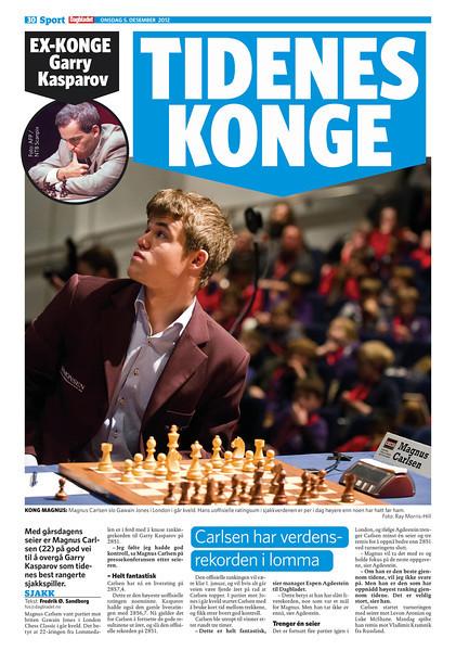 Norwegian Daily Newspaper Dagbladet, 5 December 2012