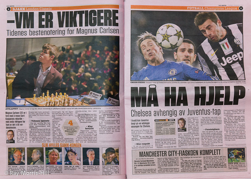 Norwegian newspaper featured my photo of Magnus Carlsen, opposite Champions League Football on 5 December 2012