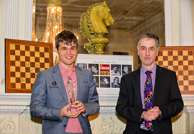 Magnus Carlsen, winner of the London Chess Classic 2012.  He was presented the trophy by Malcolm Pein at the prize giving dinner at Simpson's-in-the-Strand.