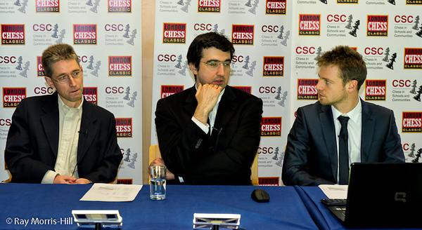 Michael Adams, Vladimir Kramnik and Stephen Gordon in the Commentary Room