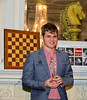 Magnus Carlsen, winner of the London Chess Classic 2012.  He was presented the trophy at the prize giving dinner at Simpson's-in-the-Strand.