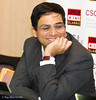 Viswanathan Anand had a bye today and was in relaxed form in the Commentary Room