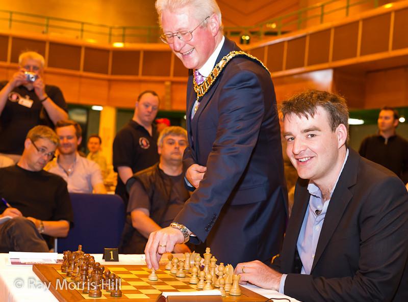 Councillor Julien Parrott makes the first move for Gawain Jones