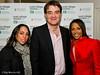 Gawain Jones flanked by Olympians Beth Tweddle and Dam Kelly Holmes