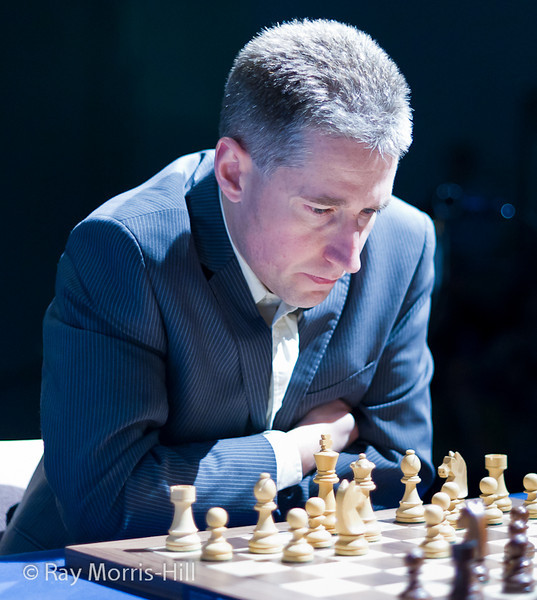 Michael Adams at the start of his quarter-final match with Peter Svidler