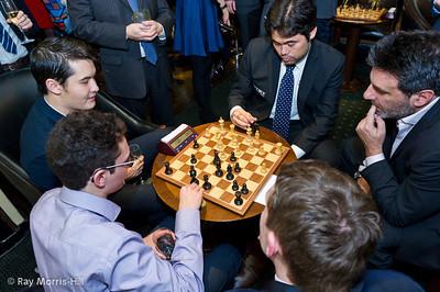 Clockwise, starting from the left:  David Howell, Hikaru Nakamura, Ali Mortazavi, Luke McShane and Fabiano Caruana