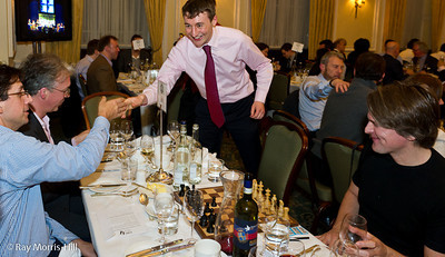 Luke McShane greets guests at the start of the simul