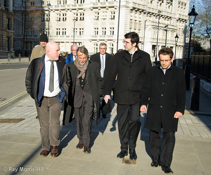 From left to right: Andrew Paulson, Daniel Weil, Vladimir Kramnik and Levon Aronian