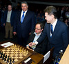 FIDE President Kirsan Ilyumzhinov makes the first move for Boris Gelfand.