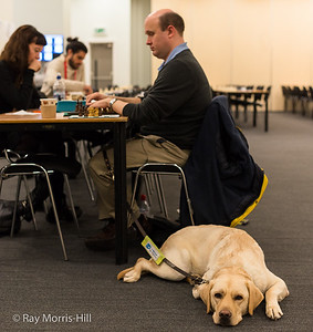 Dan Rugman, playing in the U120 Weekender, accompanied by his patient guide dog Heston