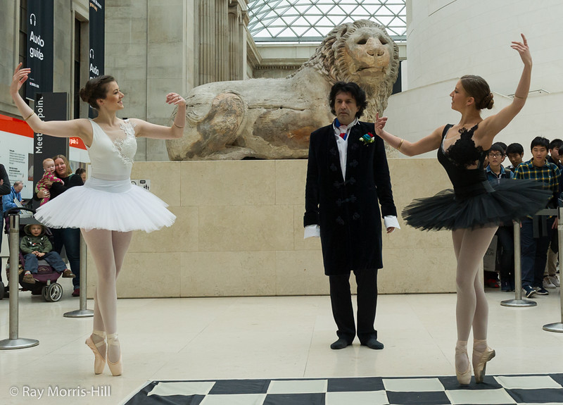 Reflections - Jenny Logan, Jason Kouchak and Rosy Nevard perform in the Great Court of the British Museum
