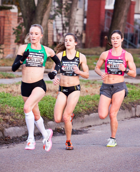 Shalane Flanagan also secured a $4,000 bonus as she broke the Aramco Houston Half Marathon Race Record, previously 1:10:55, by over 1 minute!<br /> <br /> Shalane Flanagan is your 2010 Aramco Houston Half Marathon Women's champion with a time of 1:09:45!  Also shown as 2nd place, Serena Burla, and 3rd place, Renee Metivier Baillie
