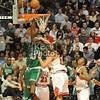 Noah fouls Perkins in the face!