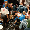 """Brad Miller and Vince Carter had a """"moment"""" after falling out of bounds together."""