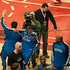 """The Magic had a pre-game ritual that was more spirited than any of their play.  Dwight Howard (foreground) had a """"routine"""" he did with every player and coach.  The other two clowns in the photo jumped around and did some kind of pre-game dance."""