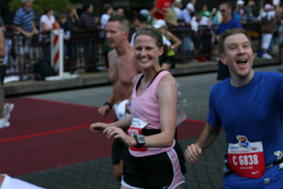 Colleen and Eric at Mile 13 looking really strong