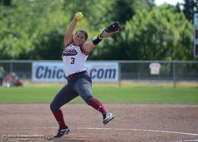 Wildcat pitcher Haley Gilham pitches in the second game of a doubleheader as Chico State plays San Francisco State on Saturday, April 23, 2016, in Chico, California. (Dan Reidel -- Enterprise-Record)