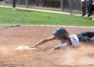Cailin Garmon scores the go-ahead run as Chico State beats San Francisco State on Saturday, April 23, 2016, in Chico, California. (Dan Reidel -- Enterprise-Record)