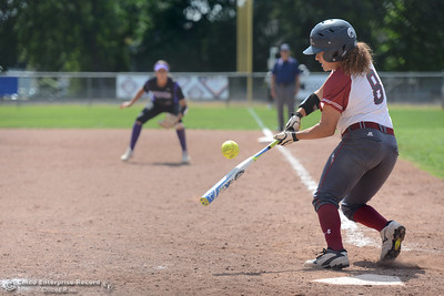 Sarah Galaviz smacks the ball as Chico State plays San Francisco State on Saturday, April 23, 2016, in Chico, California. (Dan Reidel -- Enterprise-Record)