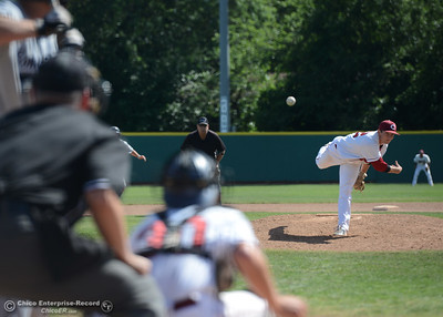 Chico State pitcher Steven Baker delivers as the Wildcats play Sonoma State on Saturday, April 23, 2016, at Nettleton Stadium in Chico, California. (Dan Reidel -- Enterprise-Record)
