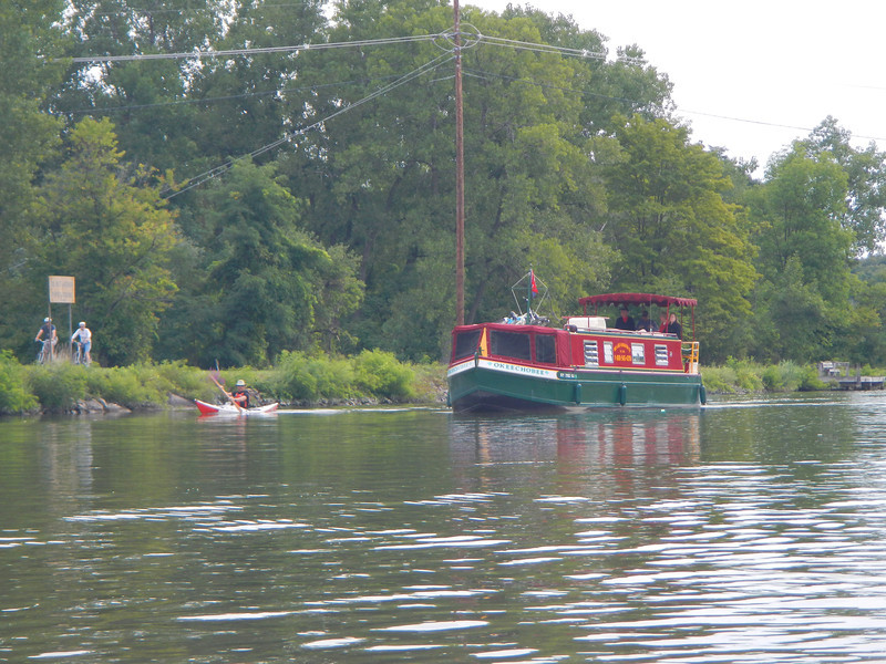 Don outraces a canal boat on the Erie Canal.