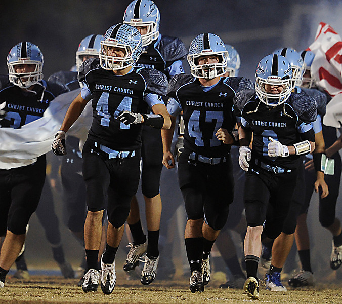 The Christ Church Cavaliers played host to the St. Joseph's Knights in the second round of the State Football Playoffs.<br /> GWINN DAVIS PHOTOS<br /> gwinndavisphotos.com (website)<br /> (864) 915-0411 (cell)<br /> gwinndavis@gmail.com  (e-mail) <br /> Gwinn Davis (FaceBook)