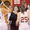 Matt Hamilton/The Daily Citizen<br /> CHS coach talks to her players during a timeout Saturday.