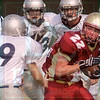 Matt Hamilton/The Daily Citizen<br /> CHS 22 has to think fast as Knights 9 and two other defenders close in on him fast.