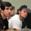 Matt Hamilton/The Daily Citizen<br /> Nich Bartley and Austin Lowe listen as Coach poag talks about their time at CHS Wednesday.