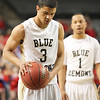 Christiansburg senior Kam Johnson (3) settles in to shoot two free throws  with eight seconds remaining in the game which sealed the Blue Demons 70-69 win over Grafton earning Christiansburg their first ever Boys Basketball State Championship.