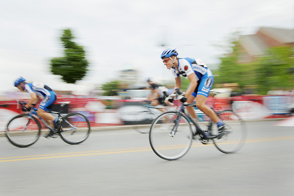 Record-Eagle/Keith King<br /> Fern Spence, of Traverse City, races along Cass Street Friday, August 12, 2011 during the Cherry-Roubaix downtown bicycle sprints.