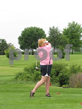 Kari Prescott tees off at the first hole at Lakeside.