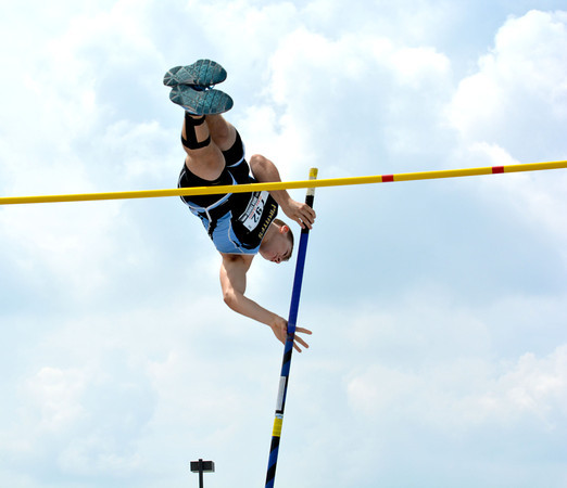 Cumberland's Monte Wolke soars over the bar at the pole vault at the Class 1A state preliminary meet at Eastern Illinois University.