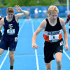 Altamont's Andrew Sharp (right) and Teutopolis' Kyle Blievernicht (left) pull up at the end of the 400-meter dash at the Class 1A preliminary meet at EIU, an event both would move on to the state finals in.