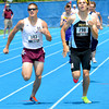 Cumberland's Tye Sutherland (right) and Carmi-White County's Michael Brown race toward the finish of the 800-meter run at the Class 1A preliminary meet at Eastern Illinois University. Brown edged Sutherland in the prelims, but the two had the two fastest times in any heat.