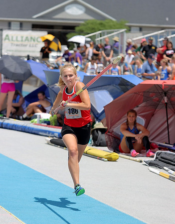 St. Anthony's Allison Green competes in the pole vault event at the Class 1A girls track and field state finals, on Thursday, July 10, 2021, at O'Brien Field on the campus of Eastern Illinois University in Charleston, Illinois.