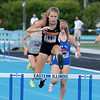 Altamont's Grace Nelson jumps over a hurdle during the 300-meter hurdle event at the Class 1A girls track and field state finals, on Thursday, July 10, 2021, at O'Brien Field on the campus of Eastern Illinois University in Charleston, Illinois.