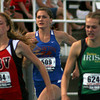 Newton's Hannah Litzelman (center) pushes toward the finish line at the 200-meter run at the Class 1A state track finals at Eastern Illinois University.