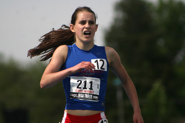 St. Anthony's Anna Sophia Keller finishes the race during the 1,600-meter run, an event in which she won the state championship.