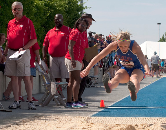 McKendra Barthelme, a sophomore from Newton Community High School, competes in the Class 1A Final Long Jump competition Saturday morning at Eastern Illinois University for the Illinois High School Association state track and field competition.