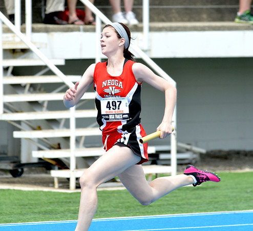 Neoga's Mallori Harshman makes her move toward the finish during the final meters of the 4x100-meter relay.