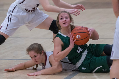 Sydnee Cervinski (4) wins the battle for the ball over Lady Knight's player Jessica Ellis (21) at Northridge High School on Friday January 20, 2017.