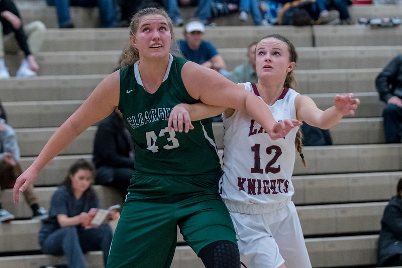 Jill Thalman (43) and Kendell Petersen (12) battle for the rebound at Northridge High School on Friday January 20, 2017.