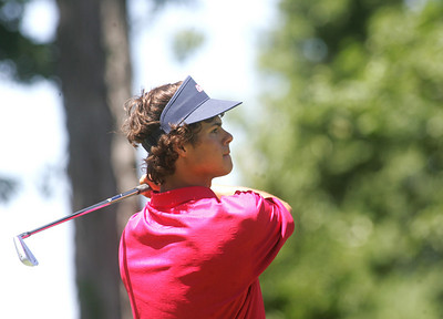 1JUL10 Avon's Kyle Kmiecik watches a drive at Red Tail Golf Club during the Cleveland Junior Open.  photo by Chuck Humel