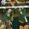 Cleveland State's Gina Kilner (12) and Alexis Middlebrooks (2) defend against Green Bay in Horizon League Championship Nov. 19. STEVE MANHEIM / CHRONICLE