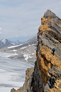 Paul Zizka and Lukas Prochazha on the last few metres of St Nicholas Peak, Banff National Park