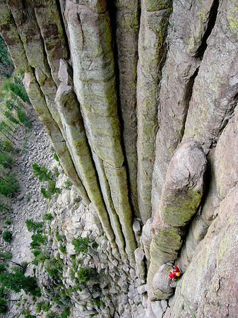 Coming down after climbing Devil's Tower in Wyoming.